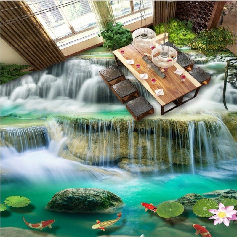 Free Shipping Waterfalls Lotus Carp 3D Painting Floor Tiles wear non-slip bedroom lobby living room flooring wallpaper mural<br>