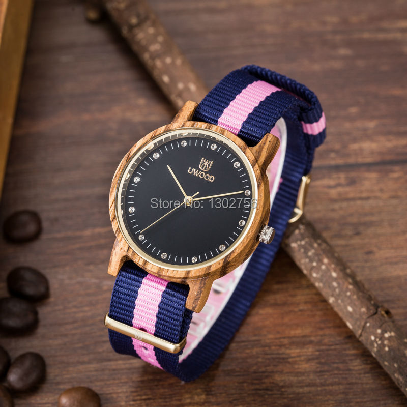 Uwood Women Zebra Sandal Wood Watch Nylon Band Fashion Wooden Watch With Multi-Color Striped Band Gift Watch Free Shipping<br>