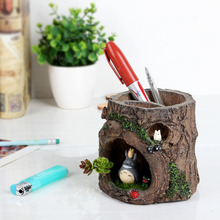 Totoro Pen Case Pot Resin Craft Gifts Doll Holiday Idea Resin Small Ornament Accessories Home Decoration Resin Pen Holder