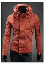 Spring and Autumn 2015 Slim fashion solid color hooded jacket influx of men and men's casual jacket coat JK04001601(China)
