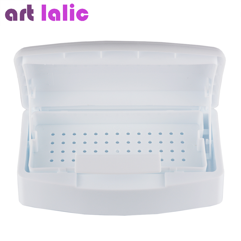 Artlalic 1pcs New Nail Sterilizer Tray Disinfection Pedicure Manicure Box Nails Art Boxes Sterilizing Salon Tools White
