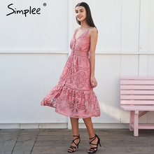 Simplee Strappy long lace summer dress women Slip button sleeveless pink dress female Spring sexy backless dress 2018(China)