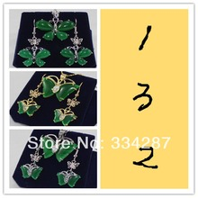 3 style Pretty 18KGP butterfly green jades pendant Necklace earrings Set