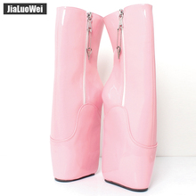"Buy jialuowei Wedge Ballet Boots 18cm/7"" High Heel YKK Zip Heelless Sexy Fetish Pinup RTBU Ankle Boots Plus Size"