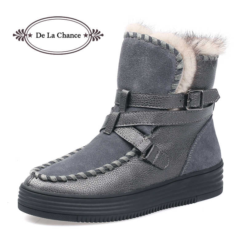 De La Chance Winter Woman Boots Shoes Plush Women Snow Boots Round Toe Flat Winter Fur Ankle Boots Ladies Warm Shoes Fashion<br>