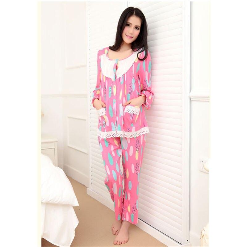 Cotton Materinty Nursing Pajamas Long Sleeve Pijamalar Hamile Plaid Pajamas Set Maternity sleepwear for Pregnant Women 50M084<br>