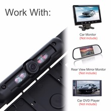 DC 12V Auto Parktronic EU Car License Plate Frame Car Rear View Camera HD Night Vision Reverse Rear View Camera with 4 IR Light(China)