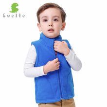 Svelte Brand Autumn Winter Kids Boys Girls Lining Fur Fleece Vest Candy Color Zipper Solid Unisex Waistcoat Inside Fur Kids Vest(China)