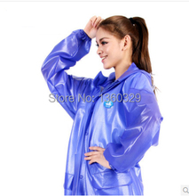 PVC Hood Thick Motorcycle Raincoat Women Rain Coat impermeable capa de chuva de motoqueiro Men Jacket casacos Hiking Rainwear(China)