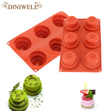 1 PCS Wine Red Silicone 3D 6-Cavity Spiral Castle Design Mold For Custard Mousse Cake Pudding  Bakeware Tools
