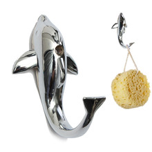 Funny Design Silver Chrome Alloy Dolphin Hanging Hook Towel Hat Clothes Wall Bathroom Mount Hanger Home Decoration Supplies