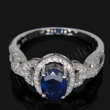 Big Sale!Vintage Sapphire Jewel Ring Au585/14Kt White Gold Diamond Sapphire Ring Oval 5x7mm For Women G090458(China)