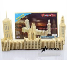 DHL Shipping 12 sets London Big Ben Wooden Puzzle Jigsaw Toy DIY Puzzles Children Educational Wood Fancy Toy Christmas Kids Gift(China)