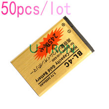 50pcs/lot 2450mAh BL-4C BL4C Gold Replacement Battery For Nokia 6100 6300 2650 5630  6131 6600f 6700S 6260 7210 6702s Batteries