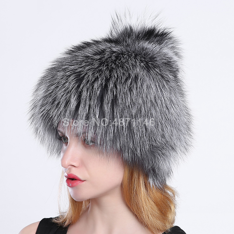 Women's Female Winter 100%Real Fox Fur Hat lady Warm kintting woollen lining natural fox fur headwear hats caps Skullies Beanies