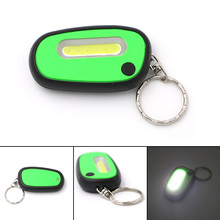 Creative COB LED Flashlight Light 2-Mode Mini Lamp Key Chain Ring Keychain Lamp Torch Keyring With Battery Green/Red/Orange/Blue