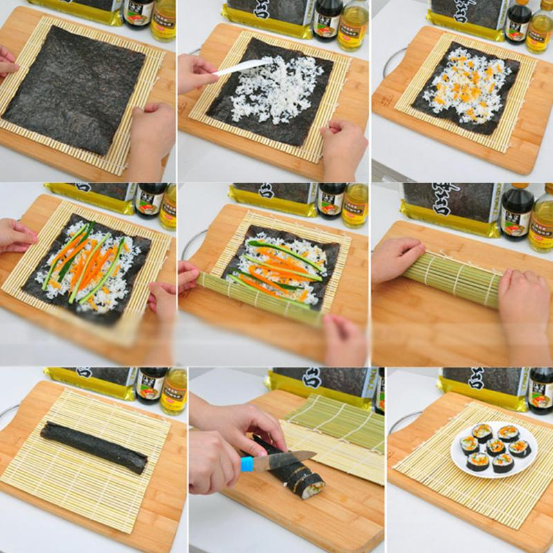 DIY Practical Sushi Rolling Roller Bamboo Material Mat Maker And Rice Paddle Set(China)