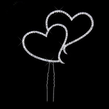 Brand Romantic Crystal Rhinestone Silver Double Heart Cake Topper Wedding Decoration Newsale Hot Sale