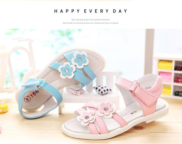 HOT Sale 1pair Flower Genuine Leather Sandals Children girl shoes , super quality  Kid Girl Sandals Orthopedic<br><br>Aliexpress