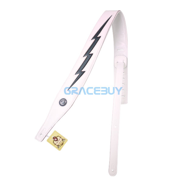Genuine Leather Padded Guitar Strap Adjustable White Cool Lightning Bolt Strap For Electric Acoustic Bass For Sale<br>
