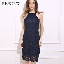 BEFORW Sunny Co Clothing Fashion Summer Women Dress Hollowed Out Sexy Mini Dresses Office Vintage Printing White Lace Dress