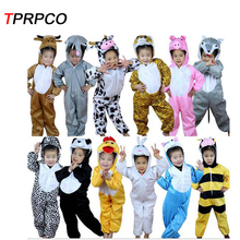 TPRPCO 1Pc Cartoon Children Kids Animal Costume Cosplay Clothing Dinosaur Tiger Elephant Halloween Jumpsuit for Boy Girl Y964