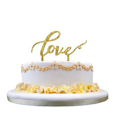16CM Special LOVE Design Glitter Cake Topper Acrylic Decorating Aniiversary Wedding Cake Cup Cake Supplies Party Decor Props P25(China)