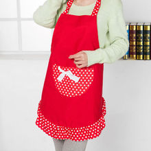 Newly 1 Pc 4 Colors Polka Dot Cute Apron Korean Style Kitchen Restaurant Pocket Apron Women Girls Kitchen Accessories