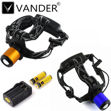 Orange Blue Zoomabl Rechargeable Headlight 18650 Led Headlamp Waterproof XM-L T6 2000LM Head Lamp Light+2x 18650 Battery+Charger
