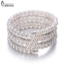 High quality Imitation pearls multilayer bracelet bridal rhinestone cuff bangles women charm jewelry for wedding accessories