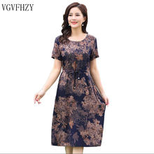 Buy Middle-aged 2018 New Fashion Women dress Summer Plus size 5XL Loose vintage dress Short sleeve Floral print dresses vestidos for $16.62 in AliExpress store