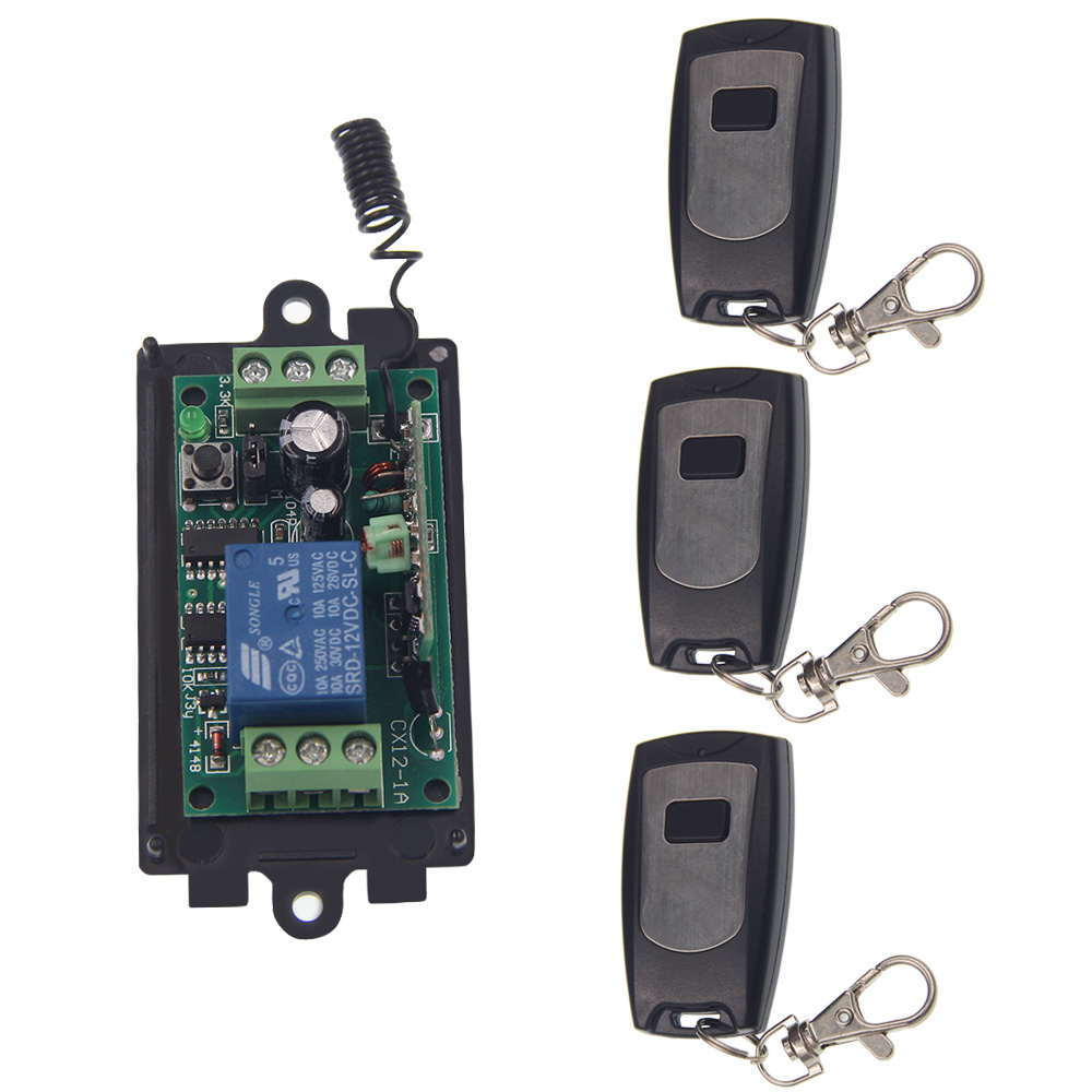 DC 9V 12V 24V 10A 1 CH 1CH RF Wireless Remote Control Switch System, 3X WaterProof Transmitters + Receiver 315/433.92 MHZ<br><br>Aliexpress