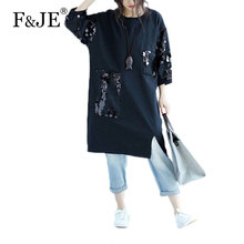 F&JE 2017 Summer Fashion Korean Style Big Clothing Women Loose Casual Dress Sequined Design Cotton Long Dress Top Quality J984