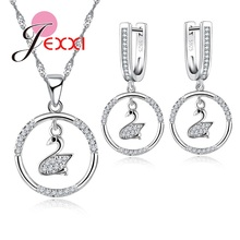 PATICO Love Swan Necklace Pendent Earrings For Women High Quality Crystal Silver Jewelry Set Best Gift For Christmas Day(China)