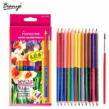 Marco 12pcs 24colors Watercolor Colored Pencils Profissional Brand Safe Non-toxic Water Soluble Color Pencil For Drawing(China)
