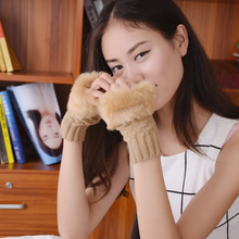 Lovely Fashion Female Winter Warm Faux Rabbit Fur Hair Knit Fingerless Typing Glove Women Short Wrist Soft Girl Mitten Glov L92(China)
