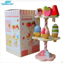 RCtown Baby Kids Playhouse Toys Simulation Kitchen Wooden Kitchenware Ice Cream Stand zk25(China)