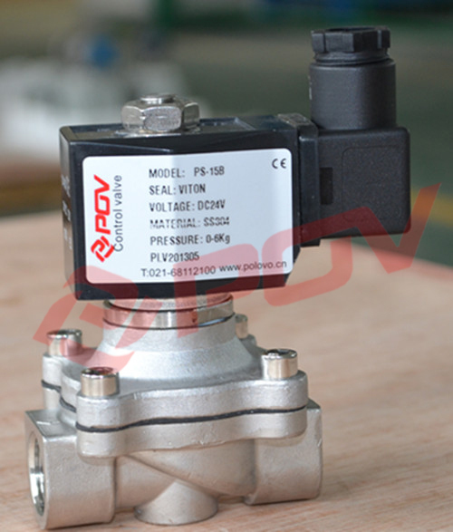 PS-15B DN15 1/2 direct acting stainless steel water solenoid valve normally closed 24vdc 0-10bar nbr seal <br>