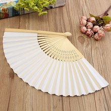 Fashion White Blank DIY Paper Folding Fan Hand Calligraphy Painting Darwing Wedding Holidays Party Dancing Props Craft(China)