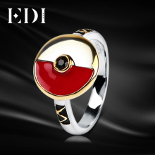 EDI Woman 925 Sterling Silver Ring 1.8 mm Red/White Black Evil Eyes Pokemon Cartoon Design Fine Jewelry Festival Rings For Women(China)