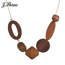 JShine Charming Ethnic Necklace European and American Popular Wood Geometric Necklaces & Pendants Statement Collier Femme Bijoux