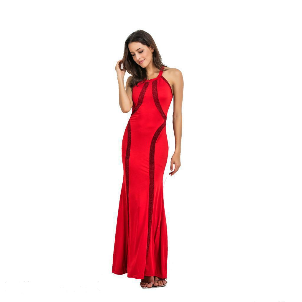 2017 Summer Fashional Style Sleeveless Sexy Dress Elastic Elegant Solid Color Womens Ankle-length Robe Beach Party Dress J455