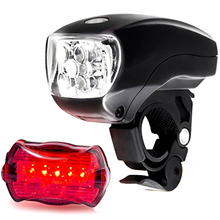 LED BIKE LIGHT SET. Bicycle headlight & taillight combo. Ultrabright 5 LED kit