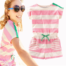 2017 New Summer Children Clothing Girls Dresses Kids Clothes Girls Jumpsuits Toddler Girl Clothing Sets Striped Shorts + T Shirt