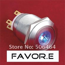 Stainless steel 19mm IP65 5A/250VAC dot illuminated 1NO 1NC Latching LED metal Push Button light Switch Flat round