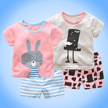 2017 New Summer Baby 2pcs set Rabbit and Magic Hat printed cotton clothes Baby Girls or Boys Short sleeve T shirt + shorts suit