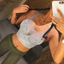 Sexy mesh women sport running yoga tank tops sleeveless shirt quick dry fitness gym crop tops clothing womens yoga vest