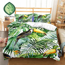 HELENGILI 3D Bedding Set Tropical plants Print Duvet cover set lifelike bedclothes with pillowcase bed set home Textiles #RD-09(China)