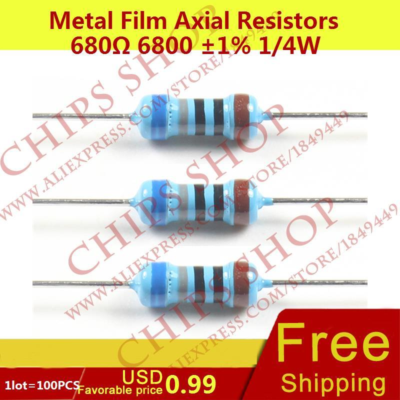 1LOT=100PCS Metal Film Axial Resistors 680ohm 6800 1% 1/4W 0.25W Wattage1/4W electronic components china(China)