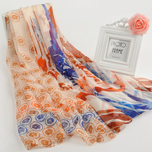 Spring Scarf Flower Print Thin Silk Scarf Shawls Wrinkled Style Cheap Chiffon Women Ladies Scarves Satin Warps Gift For Ladies(China)